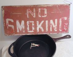"""Vintage Metal Sign, """"No Smoking"""" pleasantly scuffed and scratched with age by LoftAtticEarth on Etsy"""