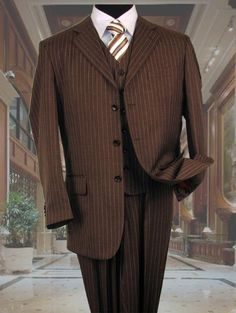 SKU#CX5753 Mens Brown With Cream Pinstripe Vested 3 Piece Suit - Jacket + Pants + Vest $139 - mensusa