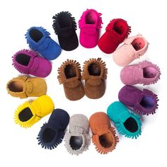 "Unisex suede moccasins in beautiful colors! Slip on style with elastic around ankle PU suede leather Sizing : Estimated outer measurement of shoe 1 - 4.33"" 2 - 4.72"" 3 - 5.11"""