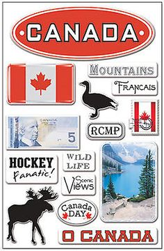 CANADA 3-D EPOXY (15) STICKERS scrapbooking HOCKEY mountains 99 CENT SALE!