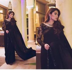 Soon we going to see her in her next drama What do you think of her black saree look? making our heart skip a beat💕 Pakistani Party Wear Dresses, Pakistani Wedding Outfits, Pakistani Dress Design, Black Pakistani Dress, Black Saree Blouse, Lace Saree, Shadi Dresses, White Saree, Pakistani Couture