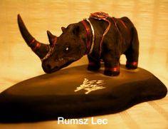 """""""Rino"""" - Rumsz Lec Sculpture. Black clay and copper.  https://www.facebook.com/Rumsz-Lec-159574767726505/"""
