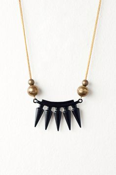 Last One - Black Metal Spike Necklace with Vintage Brass by DeuceFashion, $25.00