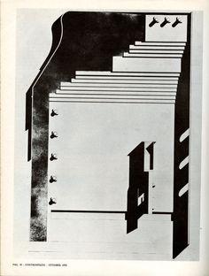 """Aldo Rossi,  e town hall square and the monument to the partisans, Segrate (MI), 1965 (Architettura di Aldo Rossi 1964-1970, in """"Controspazio"""", Bari, Edizioni Dedalo, 1970, n. 10, p. 30)"""