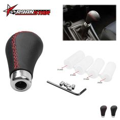 (1) This Black Leather Red Stitches Gear Stick Shift Knob for most manual transmission vehicles. Color: Black Leather Red Stitches. 2) The thread of this shift knob come withfour sizes thread adapters which will fit most cars such as Acura Honda Mazda and more. | eBay!