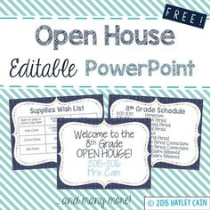FREE Editable Open House PowerPoint! I project this onto my board during the Meet and Greet time. This allows parents who I am not currently speaking with something to view and provides valuable information. Just edit with your own information! Let me know if you have any questions! **Please leave me some feedback and let me know how it goes!****Click here for an EDITABLE First Day Script PowerPoint to introduce your Classroom Rules and Procedures!**Click here for Back To School Task Cards