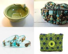 Abstraction en vert et bleu by Jennifer Moland on Etsy--Pinned with TreasuryPin.com