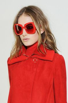 d21376d402 Sunglasses  backstage at Versace Fall 2015  MFW Red Sunglasses