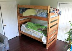 Bunk beds are great to save bedroom space with 2 or more person. If you want to build it, bookmark this collection of free DIY bunk bed plans. Bunk Beds For Boys Room, Adult Bunk Beds, Bunk Beds With Stairs, Cool Bunk Beds, Kid Beds, Bunk Rooms, Loft Beds, Bunk Bed Plans, Murphy Bed Plans