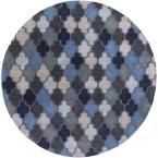 Junsele Cobalt (Blue) 8 ft. x 8 ft. Round Indoor Area Rug