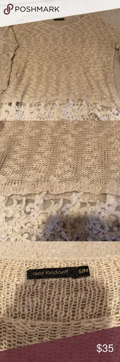LF Cotton lace sweater in sand Cute and comfy sweater from LF LF Sweaters