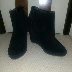 """NWOT BP. Suede Kellie Wedge Ankle Bootie 100% leather (suede). Hidden 4"""" wedge with 1/2"""" platform in front. Brand new. No scuffs. Some marks on souls, which you can see in picture. Great with dresses, skirts, leggings, and jeans.    FREE gift when purchased. Pick anything $5 or less BP. Shoes Wedges"""
