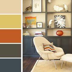 Proposition des palettes de couleurs affichant des teintes délicates, pastels, rehaussées par l'orange