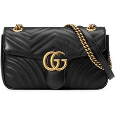 Gucci GG Marmont matelassé shoulder bag ($1,890) ❤ liked on Polyvore featuring bags, handbags, shoulder bags, black, oversized purses, structured handbags, leather shoulder handbags, leather purses and leather flap handbags