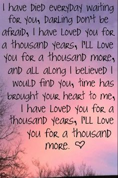"""""""...I will not let anything take away what is standing in front of me...I have loved you for a thousand years, I will love you for a thousand more."""""""