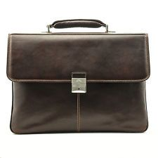 Tony Perotti Tony Perotti Italian Leather Triple Compartment Briefcase Brown