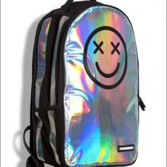 Sprayground Happy Daze Smiley Trippy Holographic Deluxe Backpack Streetwear Bag in Clothing, Shoes & Accessories, Unisex Clothing, Shoes & Accs, Unisex Accessories Holographic Fashion, Holographic Bag, Rucksack Bag, Backpack Bags, Unique Backpacks, Oui Oui, Cute Bags, Grunge Fashion, School Bags
