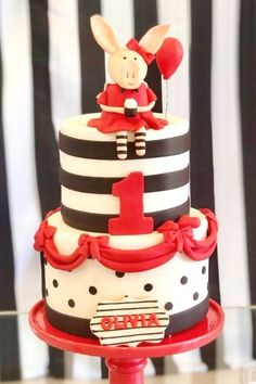 Take a look at this wonderful Olivia Pig birthday party! The cake is amazing!! See more party ideas and share yours at CatchMyParty.com #catchmyparty #partyideas #oliviapig #oliviapigparty #girlbirthdayparty
