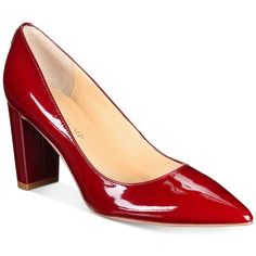 Ivanka Trump Lysa Pointed-Toe Pumps (385 RON) ❤ liked on Polyvore featuring shoes, pumps, dark red patent leather, pointed toe shoes, pointy-toe pumps, ivanka trump pumps, pointed toe pumps and ivanka trump footwear