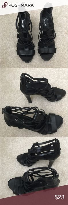 Black Strappy Heels These are very stylish black Strappy Heels. Goes great with skinny legged pants, khakis, skirts or dresses. Has a zipper on the heel for easy slip on. Franco Sarto Shoes Heels