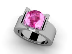Custom Made Diamond and Pink Ring by Paul Michael Designs