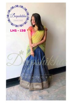 LHS Stunning blue color lehenga and pink color blouse with pista green color net dupatta. Blouse with hand embroidery gold thread work. For queries kindly WhatsApp: 9059683293 23 May 2018 Kerala Saree Blouse Designs, Half Saree Designs, Bridal Blouse Designs, Lehenga Designs, Half Saree Lehenga, Bridal Lehenga Choli, Banarasi Lehenga, Lehenga Blouse, Pink Half Sarees