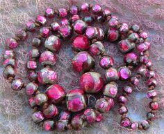 Art Deco Bohemian Fire Foil Glass Necklace