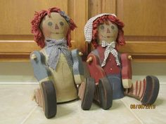 Primitive Country House Raggedy Ann Andy Dolls   eBay