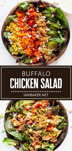 Buffalo Chicken Salad is easy to make and packed with so much flavor! Enjoy piles of juicy and perfectly moist shredded buffalo chicken over a bed of fresh summer veggies. A homemade ranch dressing takes this recipe over the top! Pin this summer salad idea for later! Grilled Bbq Chicken, Chicken Salad, Yummy Chicken Recipes, Yum Yum Chicken, Spring Salad, Summer Salads, Canning Sweet Corn, Comidas Fitness, Shredded Buffalo Chicken