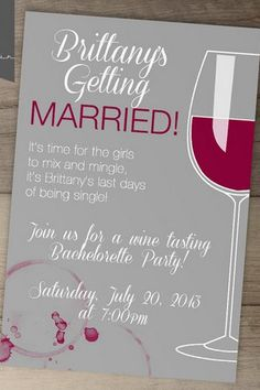 Wine Tasting Bachelorette Party Invite.