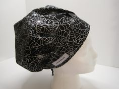 Bouffant Scrub Hat black with silver spider webs, Halloween