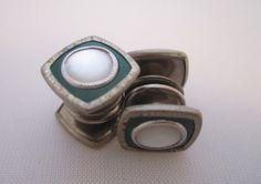 Vintage Cufflinks Snap Cuff Links Art Deco by LadyandLibrarian