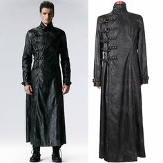 Men Black Leather Gothic Military Fashion Overcoat Trench Coat Clothes SKU-11401701