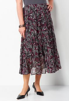 Brushstroke Crinkle Yoryu Skirt, 9-0035983244, Brushstroke Crinkle Yoryu Skirt Main View PDP Love this one #CBFallFavorites