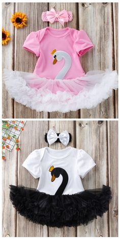 Swan Short Sleeves Romper Skirt and Headband Set in Pink/Black infant outfit,outfit for baby, o Toddler Boy Gifts, Toddler Girls, Baby Hair Bands, Mommys Girl, Romper With Skirt, Cute Toddlers, Baby Shop, Children Photography, Baby Dress