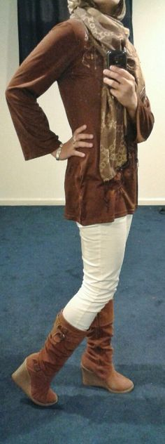 Fashion & Style Fusion blog, #ootd #hootd #modest #outfit #fashion #style #scarf #brown #white #boots #cocochanel #wedges #tallboots #bronze