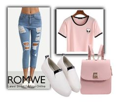 """Romwe V/4"" by dzemila-c ❤ liked on Polyvore featuring romwe"