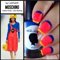 """""""Credit @nanaandhernails  Dying over these #moschino inspired neon color blocking nail art for Day 4 FASHION TREND in #NAFW2015  . Today is STYLE ICON!…"""""""