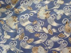 Fabric seashells fish and waves by ScootToBoot on Etsy (Craft Supplies & Tools, Fabric, Seashells, Fabric, nautical, beach, clams, shells, sea, ocean, fish, yardage, Blue, waves, cotton)