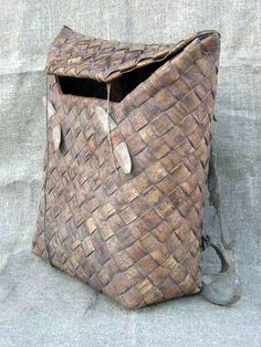 "Birch bark backpack. Finnish name for this is ""Tuohikontti"" and for example my own grandfather used to make these back in the days.."