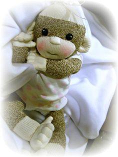 sock monkey baby shower decorations   Baby Sock monkey Kiki   Dolls