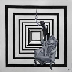 """""""Teniendo una idea""""  Oleo y acrilico sobre tela  100 x 100 cm  2011  Maydul Art (Mayra y Dulce Hdz, hermanas gemelas que trabajan en un mismo lienzo) Navojoa Sonora, Mexico.  www.maydulart.com  www.facebook.com/maydulart.fanpage"""