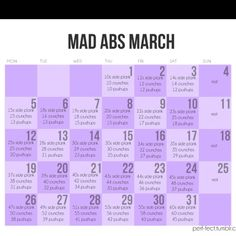 March abs month - if I start the week off with Sunday the days correspond to May 2013