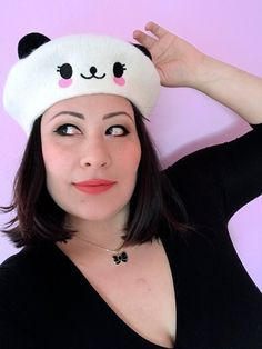 56d49d4cd5ccf Kawaii Panda Bear Beret With Ears - Beret Hat