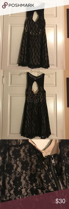 Black Lace Dress Black lace dress with nude underlay that's sexy but classy! Worn once! In XL. Material Girl Dresses Midi