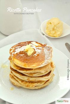 Ricotta+Pancakes+with+Honey+Butter+-+the+richest+and+fluffiest+pancakes+you+will+have+eat!
