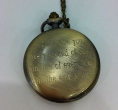 Personalized Engraved Antique Brass Pocket Watch with custom writing on Etsy, $30.88