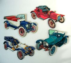 Old Antique Vintage Cars Automobile Cut punch outs by MargsMostlyVintage on Etsy Vintage Cars, Antique Cars, Vintage Items, Punch Out, Team Gifts, Puzzle Pieces, Old Antiques, Old Cars, Automobile