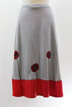 TSkirt Upcycled recycled appliqué grey long t by sardineclothing, $75.00