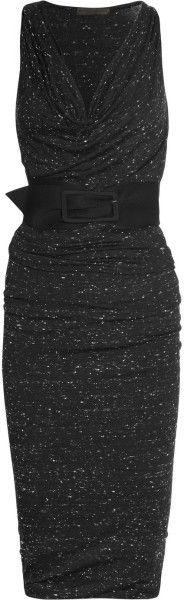 ♔ Donna Karan New York Black Belted Stretch Jersey Dress